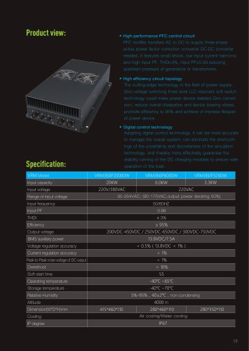 VRM series Vehicle charging station view and specification