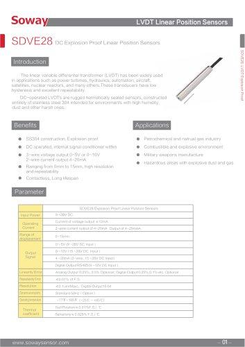 SOWAY LVDT displacement transducers SDVE28-15A