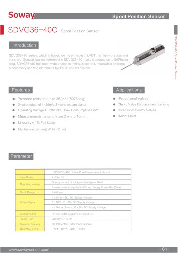 SOWAY LVDT displacement transducers SDVG36-40C