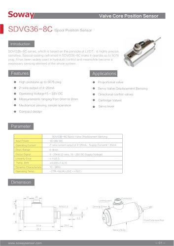 SOWAY LVDT displacement transducers SDVG36-8C