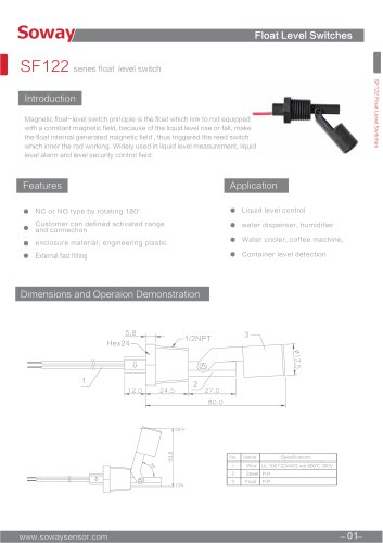 SOWAY Magnetic float switch SF122