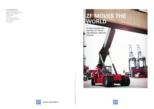 ZF DRIVE SYSTEMS FOR electric lift trucks an d m aterial han d l ing ve h icle