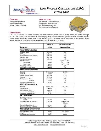 YIG-tuned Oscillator LPO-0205-520-01