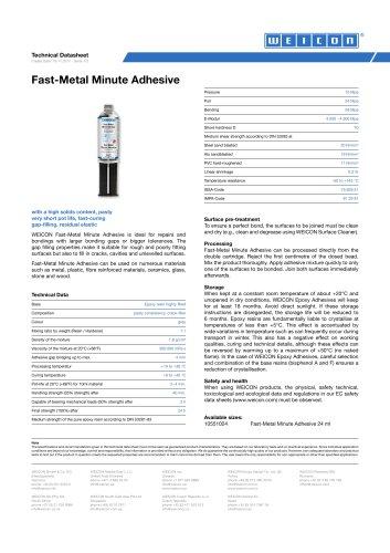 Fast-Metal Minute Adhesive TDS