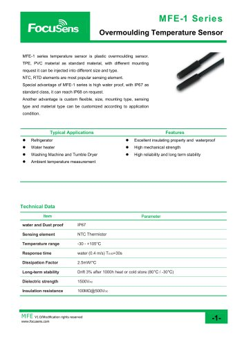 MFE-1 Series / Overmoulding Temperature Sensor