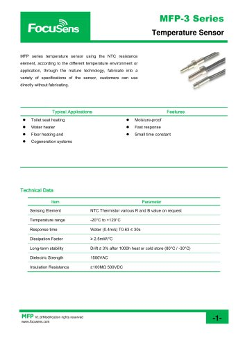 MFP-3 Series Temperature Sensor