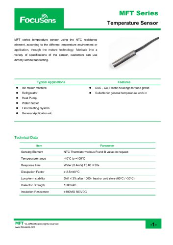 MFT Series Temperature Sensor