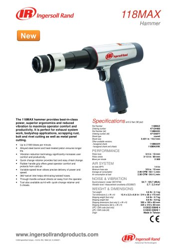 118MAX Air Hammer Product Data Sheet
