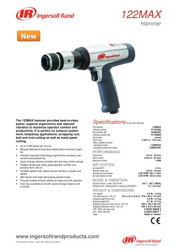 122MAX Air Hammer Product Data Sheet