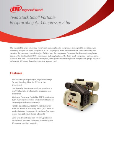 Twin Stack Small Portable Reciprocating Air Compressor 2 hp