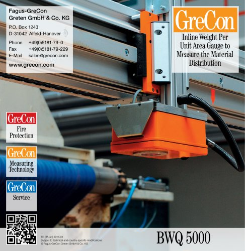 BWQ 5000 - Inline Weight Per Unit Area Gauge to Measure the Material Distribution