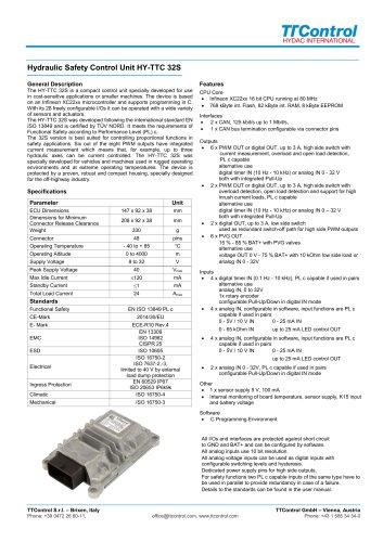 Hydraulic Safety Control Unit HY-TTC 32S