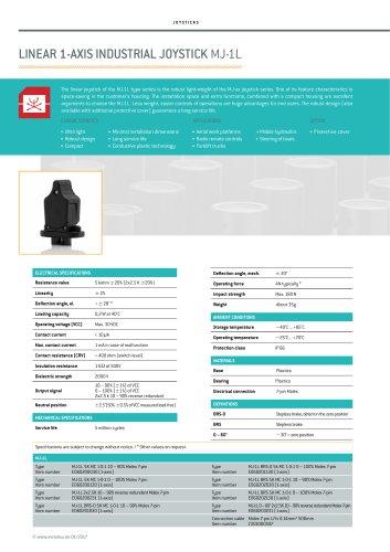 LINEAR 1-AXIS INDUSTRIAL JOYSTICK MJ-1L