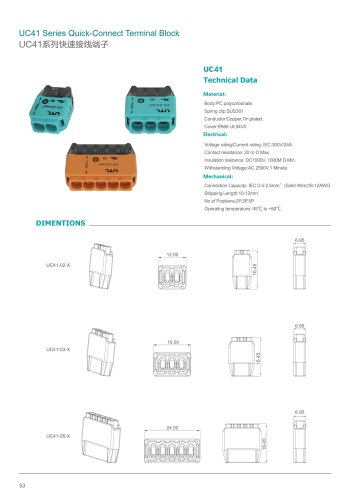 UC 41&42 series quick push-in wire connect terminals