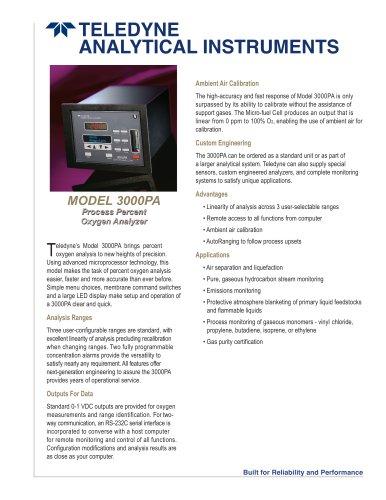 MODEL 3000PA Process Percent Oxygen Analyzer