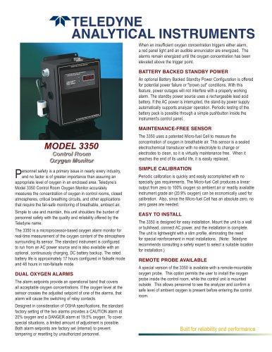 Model 3350 - Control Room Oxygen Monitor