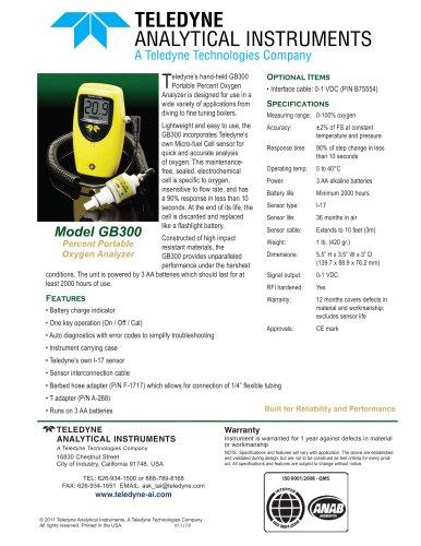 Model GB300 - Percent Portable Oxygen Analyzer