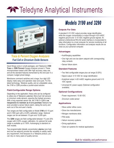 Models 3190 & 3290 Low Cost Trace & Percent Oxygen Analyzers