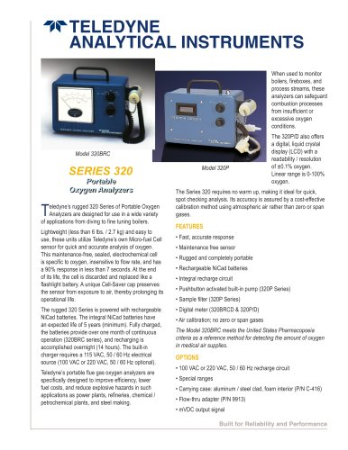 Series 320 - 320B, 320BRC, 320P and 320P/D portable oxygen analyzers