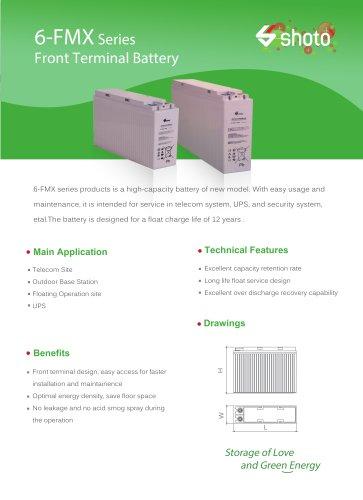 Shoto High-capacity battery  6-FMX series  for telecom & UPS