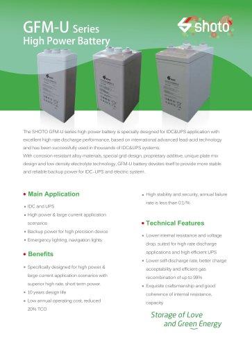 Shoto high-power battery GFM-U seriesfor IDC & UPS