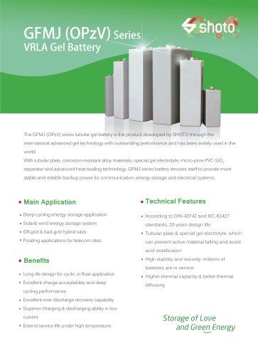 Shoto VRLA gel battery GFMJ(OPzV) Series for energy storage