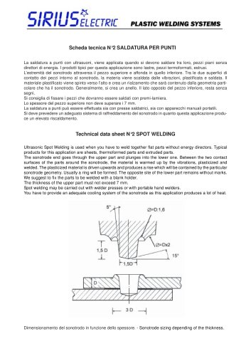 Scheda  tecnica-ultrasuoni Saldatura  punti. Technical  data-ultrasonic  Spot Welding.