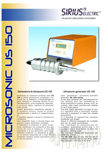 Ultrasonic generator model MICROSONIC US 150
