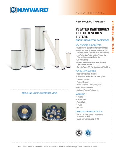 NPP0713 - Pleated Cartridges for CFLV Series Filters