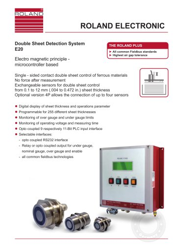E20 Double Sheet Detection for steel sheets with contacting sensors