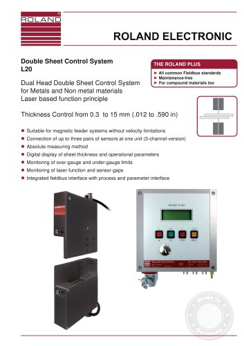 L20 - Dual Head Double Sheet Control System for metals and non metal materials - Laser based Function principle