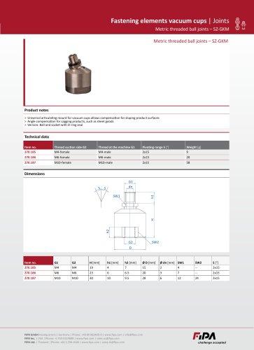 Fastening elements vacuum cups