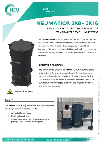 Cartridge dust collector NEUMATIC® JK8 - JK16