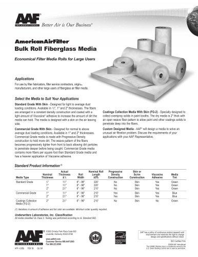 Bulk Roll Fiberglass Media