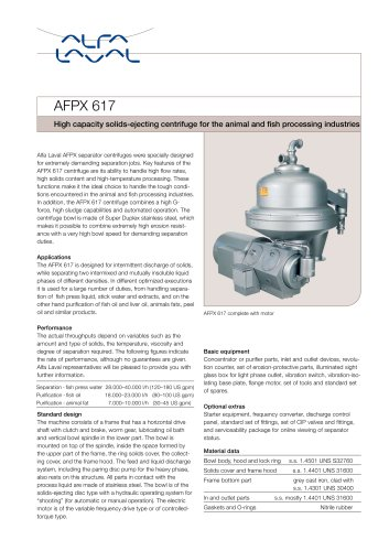 AFPX617 - High capacity solids-ejecting centrifuge