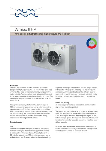 Airmax II HP - Unit cooler industrial line for high pressure (PS = 50 bar)