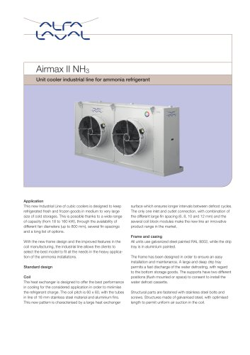 Airmax II NH3 - Unit cooler industrial line for ammonia refrigerant