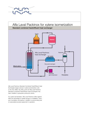 Alfa Laval Packinox for xylene isomerization