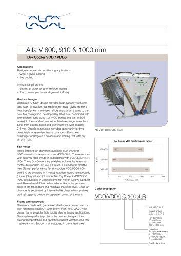 Alfa V 800, 910 & 1000 mm - Dry Cooler VDD / VDD6
