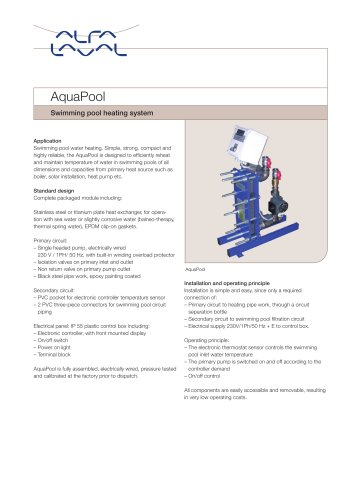 AquaPool Swimming pool heating system
