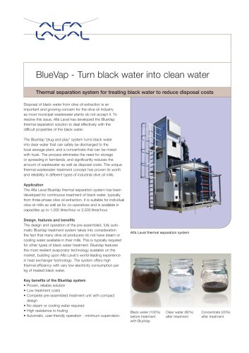 BlueVap Thermal separation of blackwater