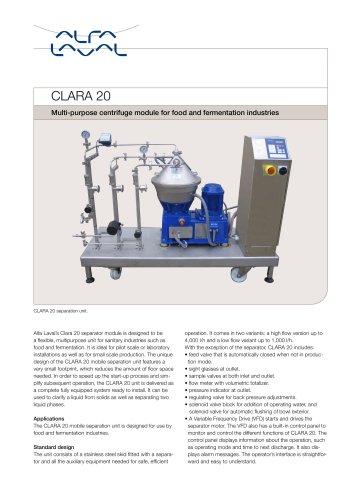 CLARA - CLARA 20 - Multipurpose centrifuge module for food and fermentation industries
