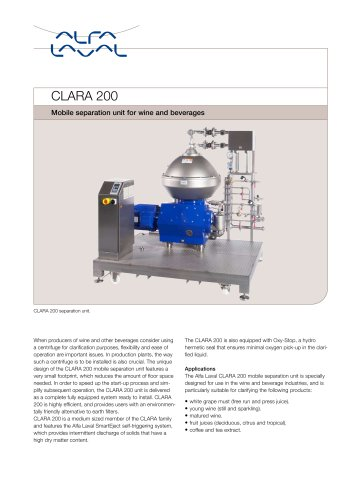 CLARA - CLARA 200 - Mobile separation unit for wine and beverages