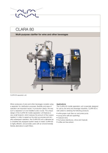 CLARA - CLARA 80 - Multi-purpose clarifier for wine and other beverages