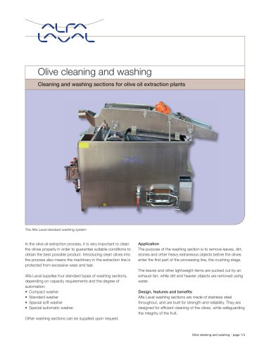 Cleaning and washing sections for olive oil extraction plants