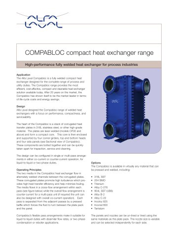 Compabloc - welded heat exchanger range