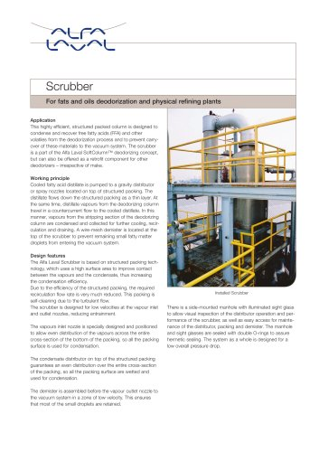 For fats and oils deodorization and physical refining plant