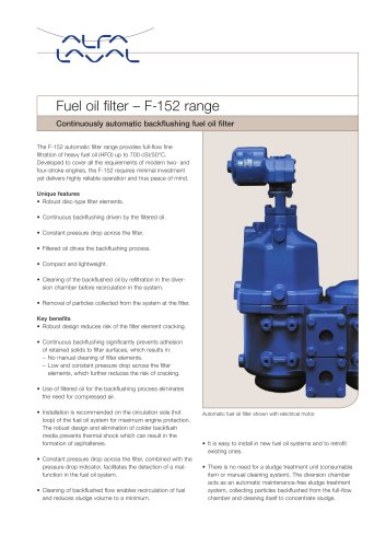 Fuel oil filter – F-152 range
