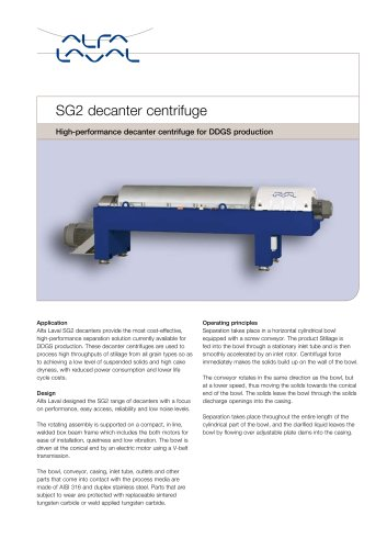 High-performance decanter centrifuge for DDGS production