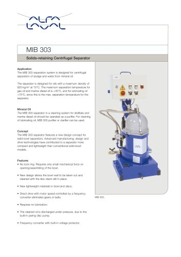 MIB 303 - Solids-retaining Centrifugal Separator